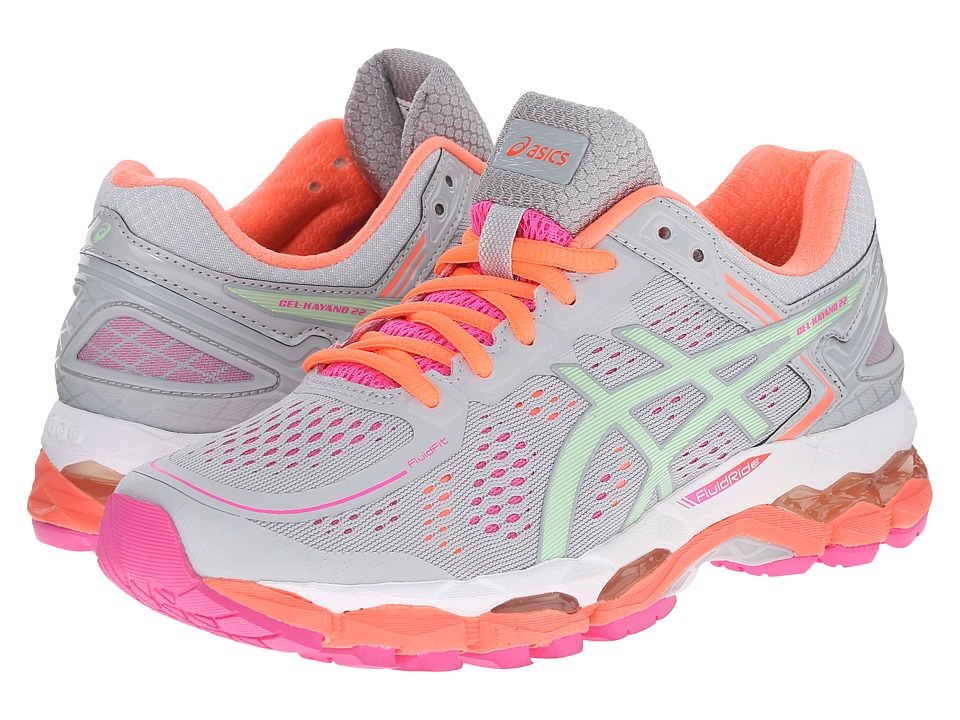 ASICS - GEL-Kayano 22 (Silver/Grey/Pistachio/Fiery Coral) Women's Running Shoes
