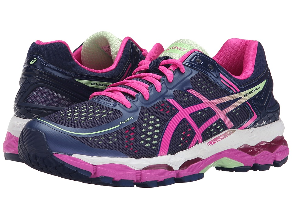 ASICS - GEL-Kayano 22 (Indigo Blue/Pink Glow/Pistachio) Women's Running Shoes