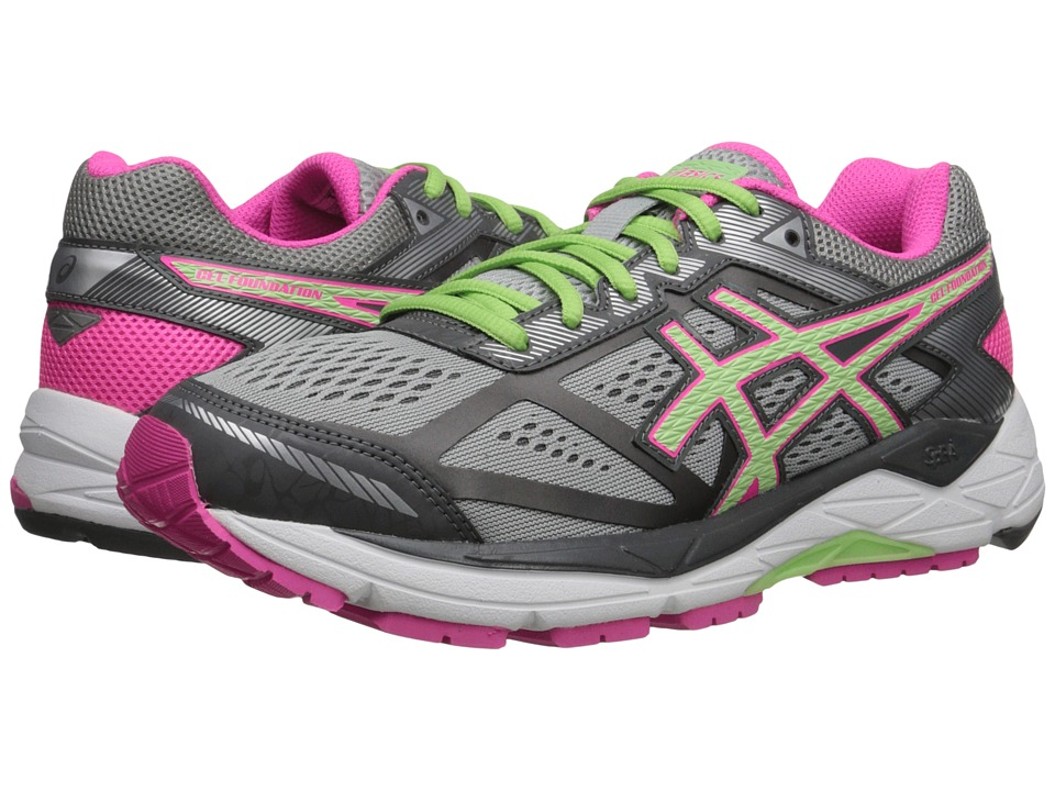 ASICS - Gel-Foundation 12 (Silver/Gray/Pistachio/Pink Glow) Women's Running Shoes