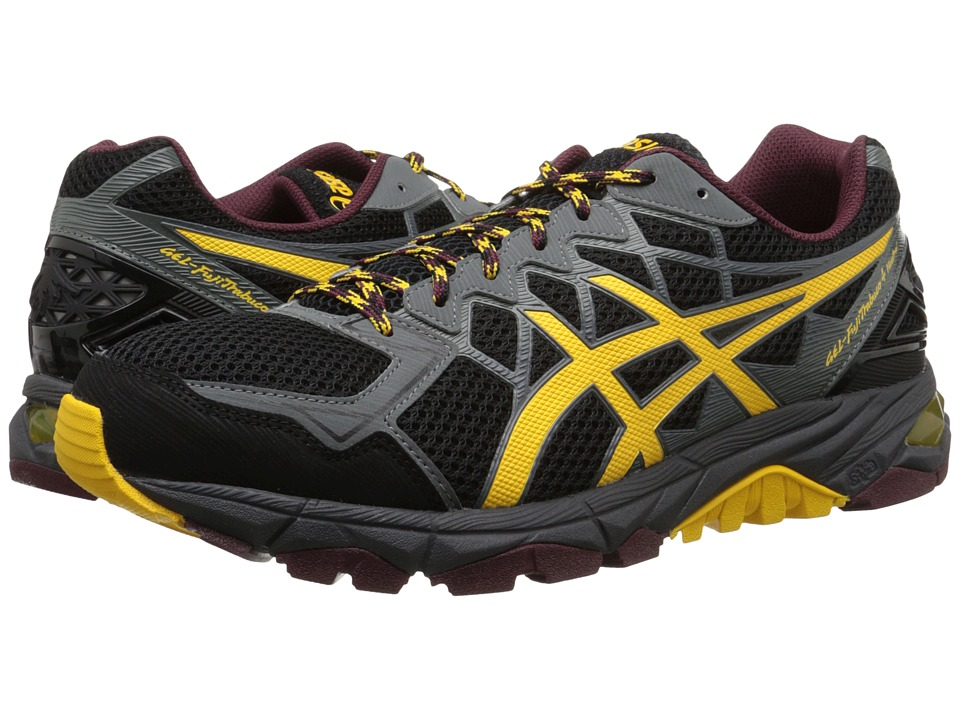 ASICS - GEL-Fuji-Trabuco 4 Neutral (Black/Spectra Yellow/Royal Burgandy) Men's Running Shoes