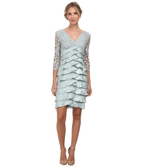 Adrianna Papell - Shimmer Shutter Tuck Lace Surplus Dress (Icy Mint) Women