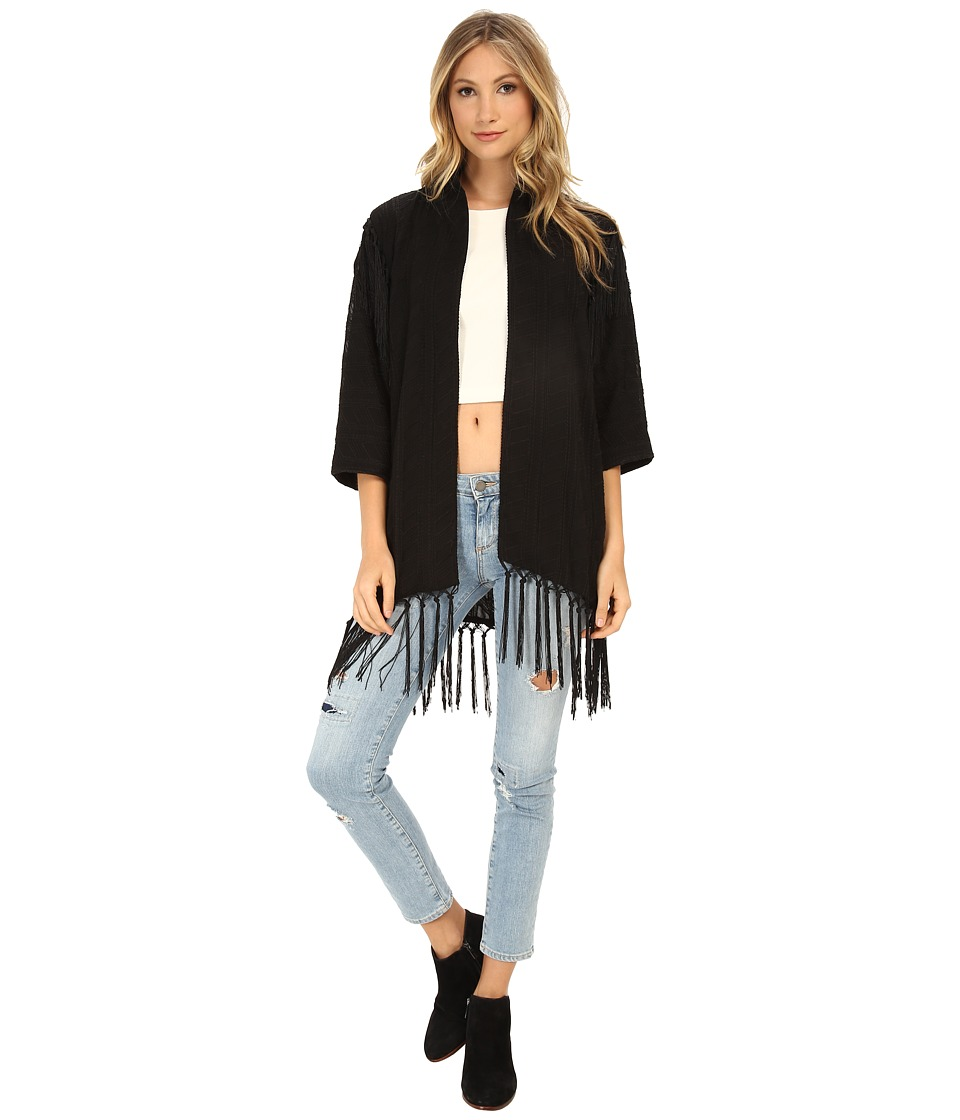 Sam Edelman - Embroidered Kimono w/ Fringe Detail (Black) Women