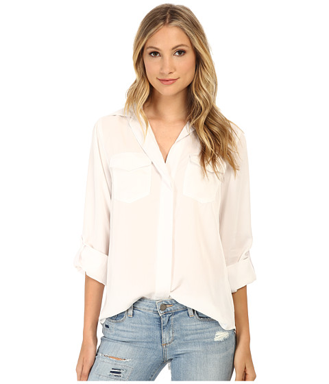 Sam Edelman - Split Back Button Front Shirt (White) Women's Long Sleeve Button Up