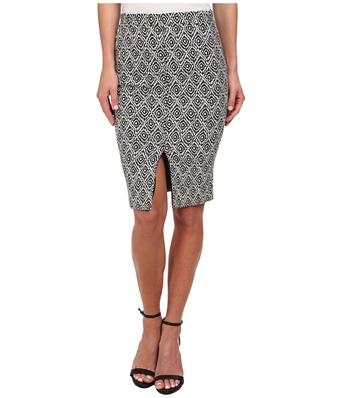 Sam Edelman - Match Slip Front Midi Skirt (Black/White) Women's Skirt