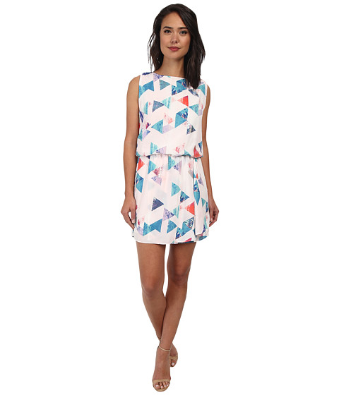 Sam Edelman - Geo Print Keyhole Back Dress w/ Ruffle (Multi) Women's Dress