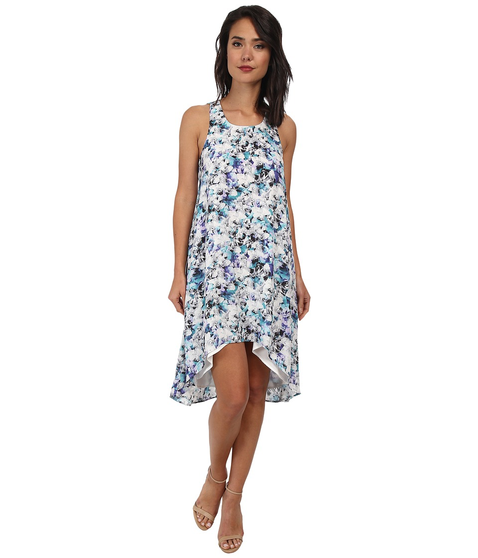 Sam Edelman Photo Floral Racer Back Detail High Low Dress (Turquoise) Women