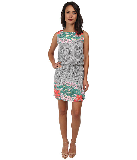 Sam Edelman - Border Print Keyhole Back Dress w/ Ruffle (Multi) Women