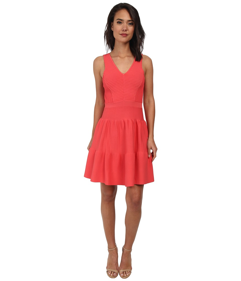 Sam Edelman - Fit Flare Ottoman Sweater Dress (Hot Pink) Women's Dress