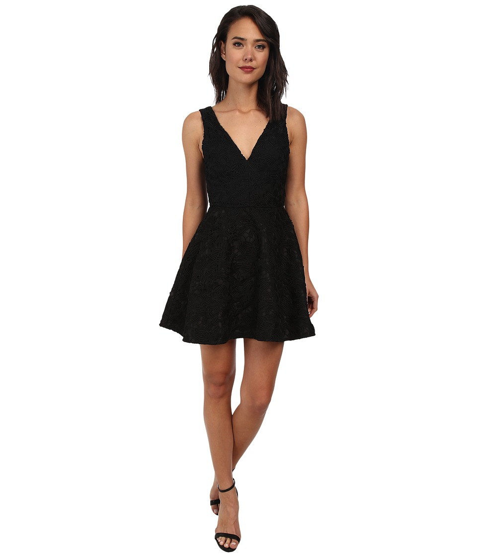 Sam Edelman - Lace Plunge V-Neck Dress (Black) Women's Dress