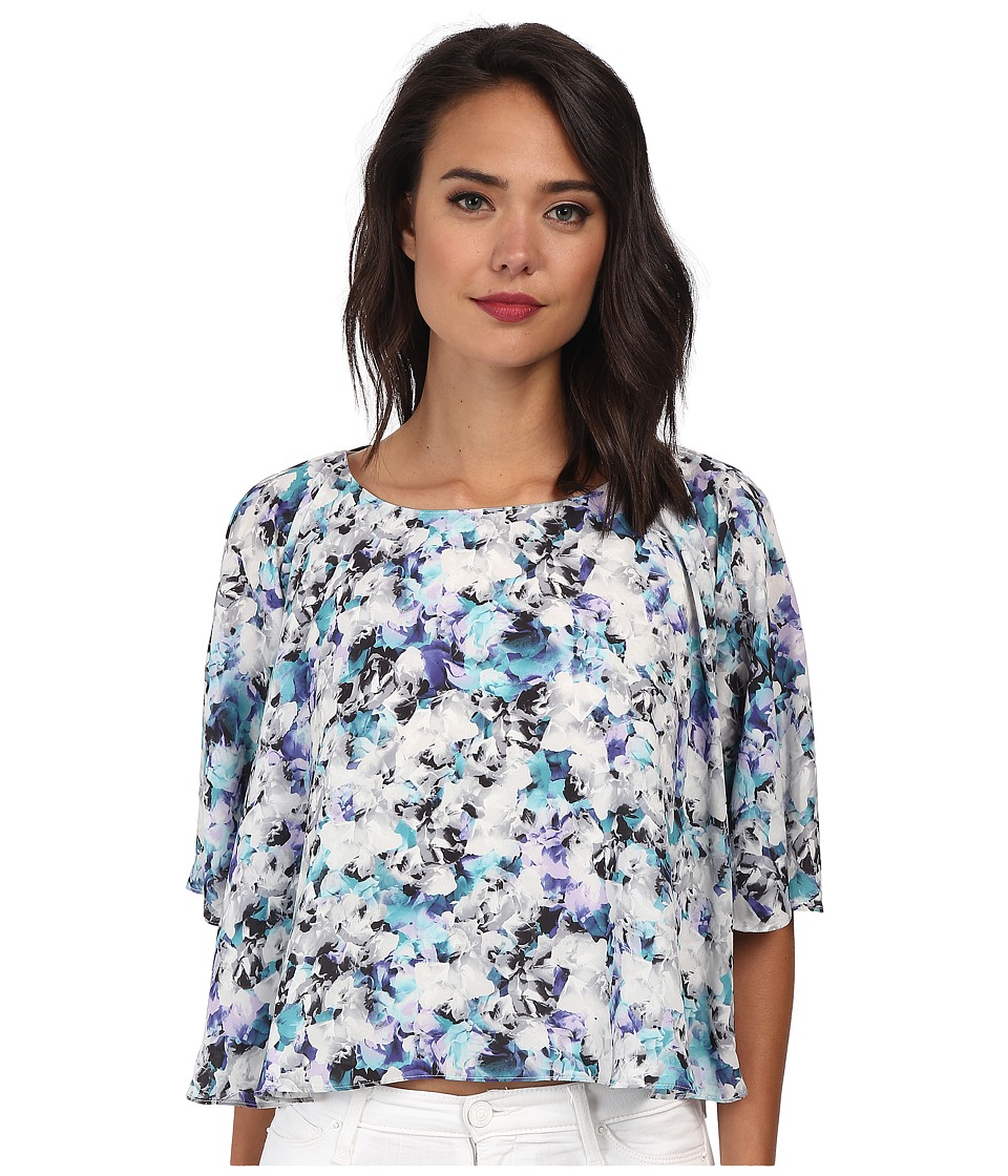 Sam Edelman - Photo Floral 3/4 Dolman Sleeve Flounce Tee (Turqouise) Women's Blouse