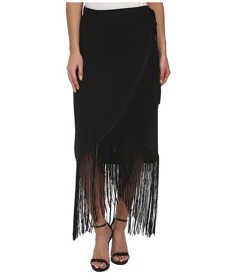 Sam Edelman - Fringe Wrap Skirt (Black) Women's Skirt