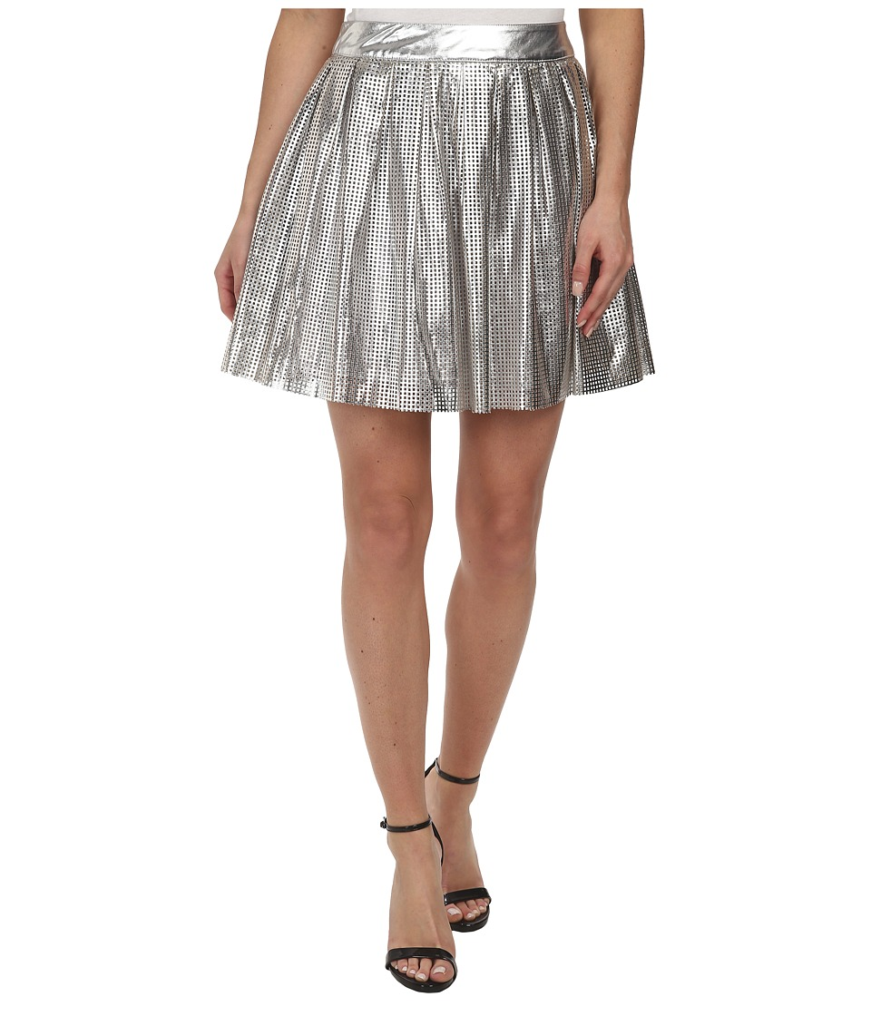 Sam Edelman - Silver Pleated Perforated Pu Skirt (Silver) Women's Skirt