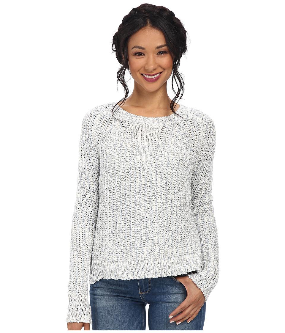 Sam Edelman - Metallic Half Cardigan Pullover (Ivory/Blue) Women's Sweater