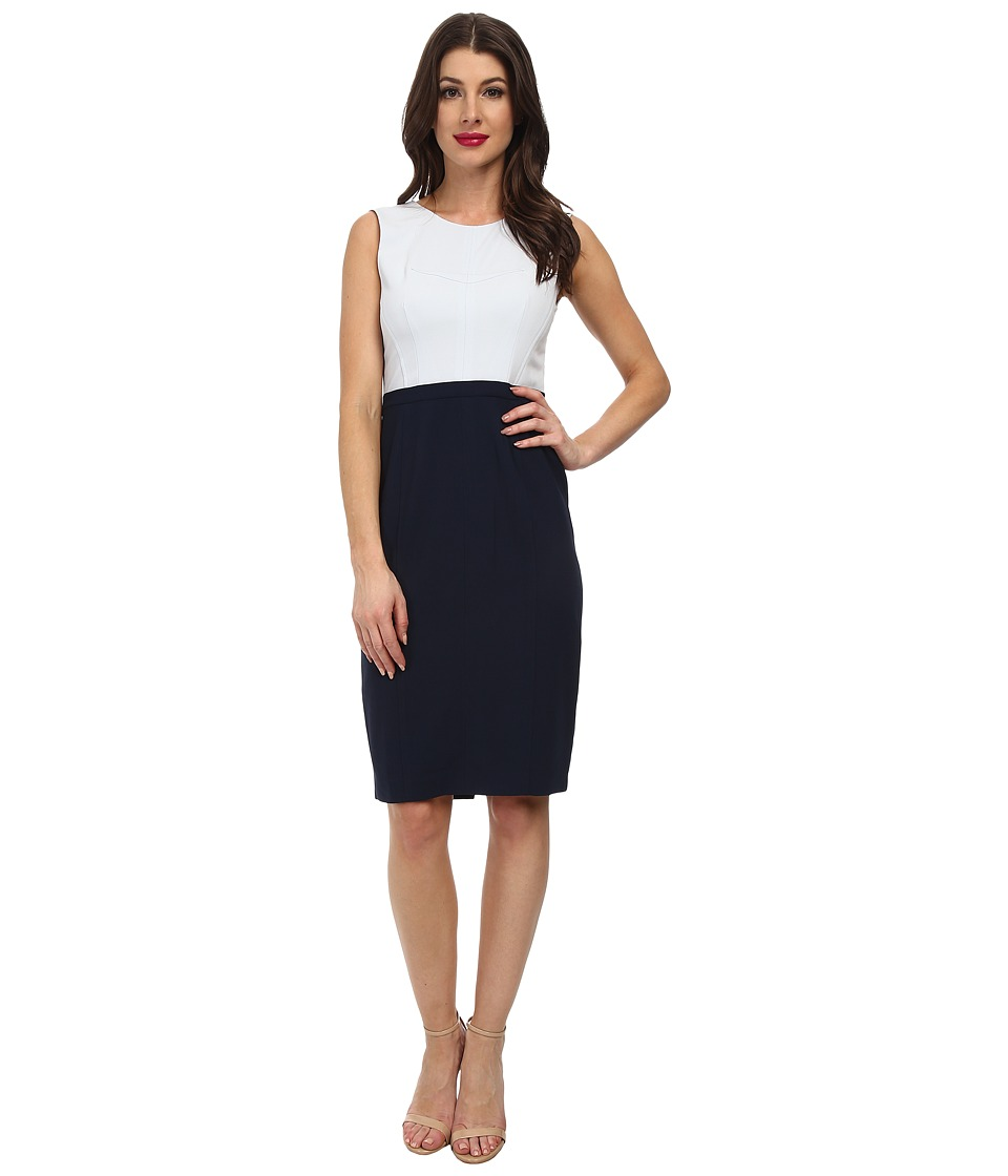 BCBGMAXAZRIA - Blaire Woven City Dress (Crystal Blue/Dark Navy Combo) Women's Dress