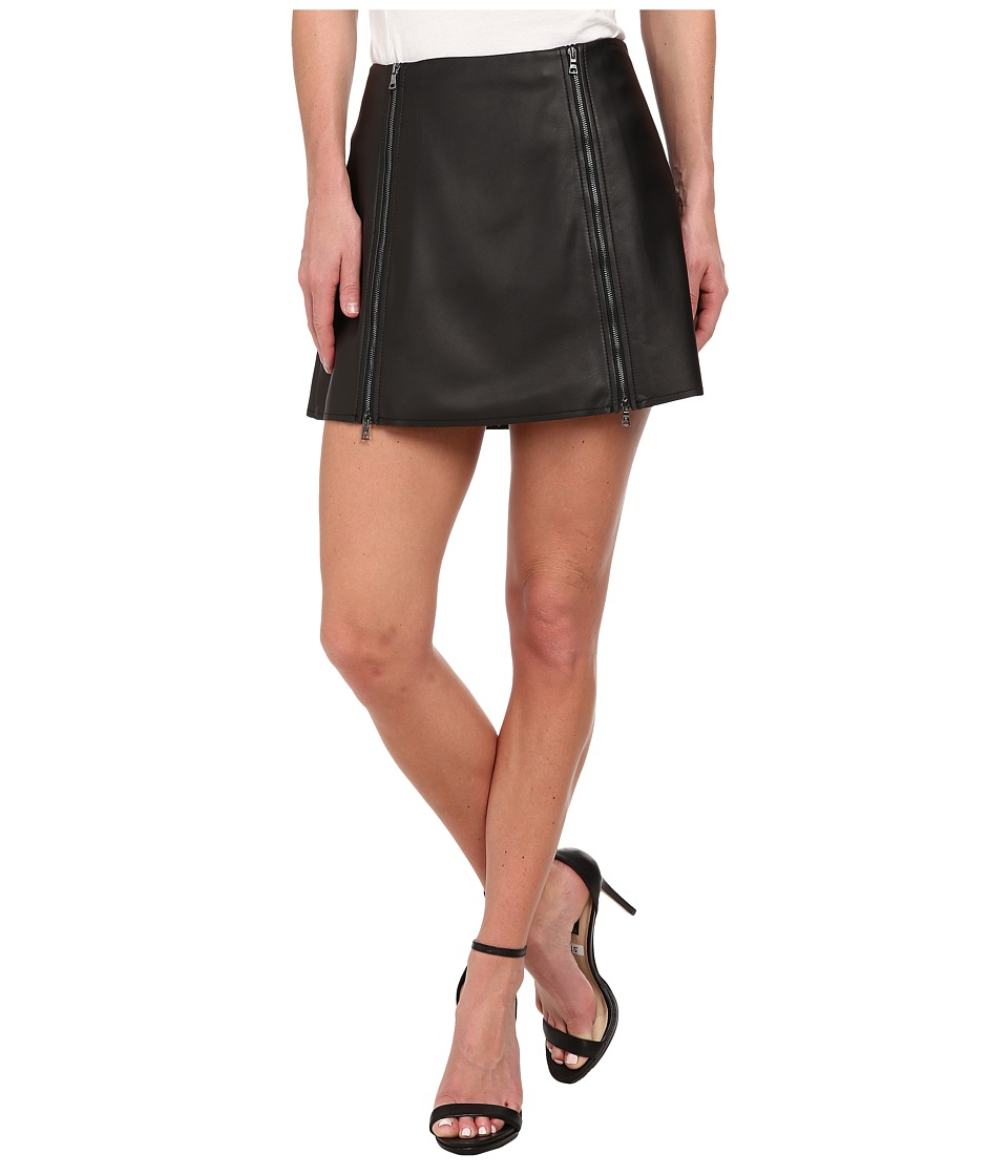 BCBGMAXAZRIA - Myra Woven Skirt Faux Leather (Black) Women