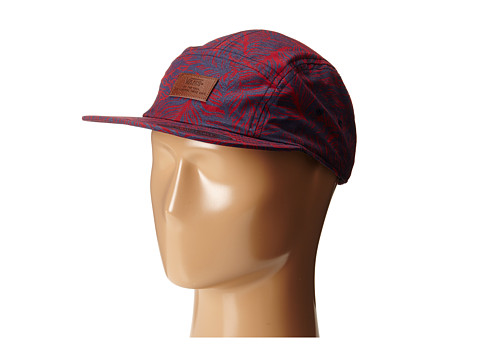 Vans - Davis 5 Panel Camper Hat (Beet Red Open Leaf) Baseball Caps