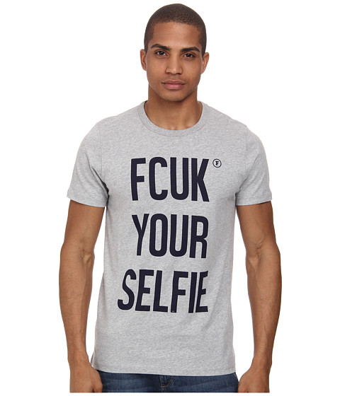 French Connection - Fcuk Your Selfie (Grey Mel/Marine Blue) Men's T Shirt