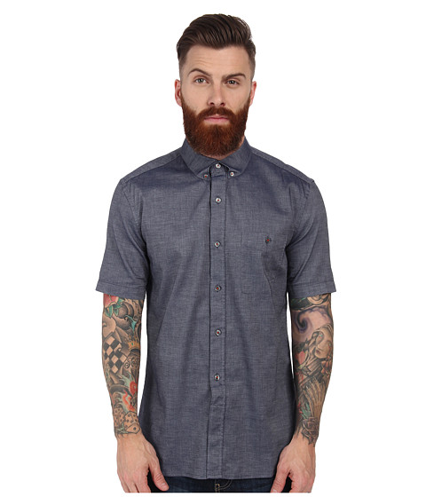 French Connection - Basoga Micro Diamond (Marine Blue) Men's Short Sleeve Button Up