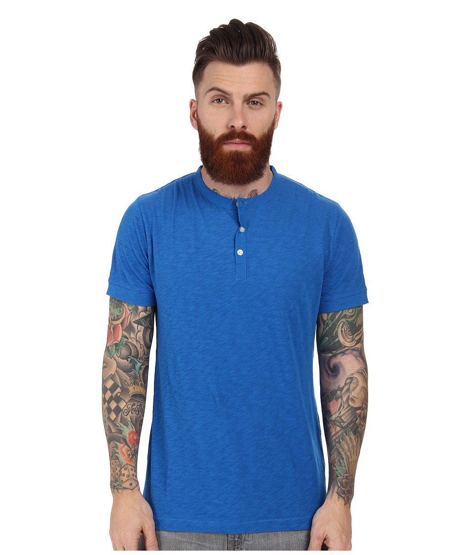 French Connection - S/S Slub Henley (Prince Blue) Men's T Shirt