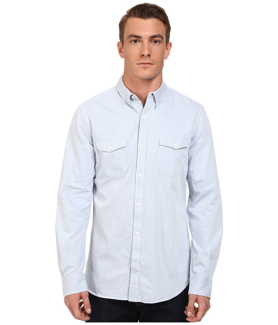 French Connection - Summer Twill Chambray (Prince Blue) Men's Long Sleeve Button Up
