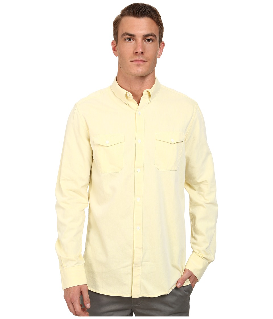 French Connection - Summer Twill Chambray (Limelight) Men's Long Sleeve Button Up