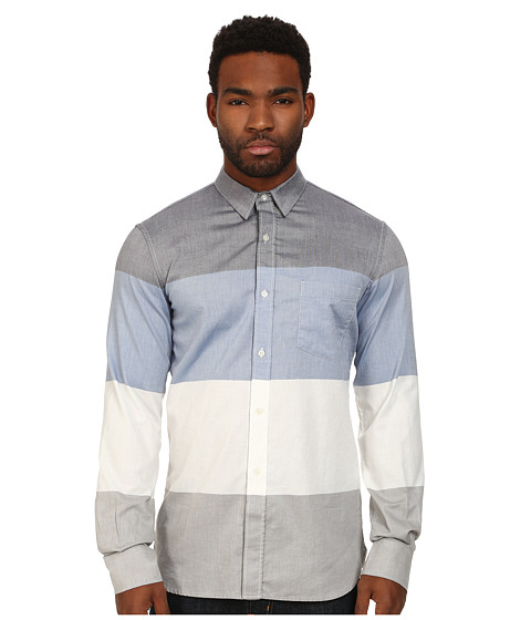 French Connection - Girodet Oxford Stripe (Colony Blue) Men's Clothing