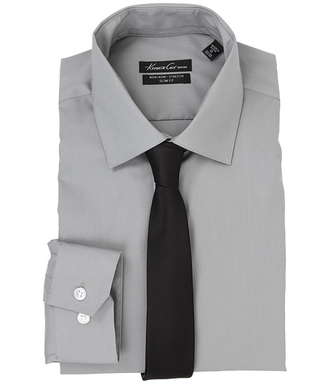 Kenneth Cole New York - L/S SlimFit Non-Iron Solid Dress Shirt (Mercury) Men's Long Sleeve Button Up