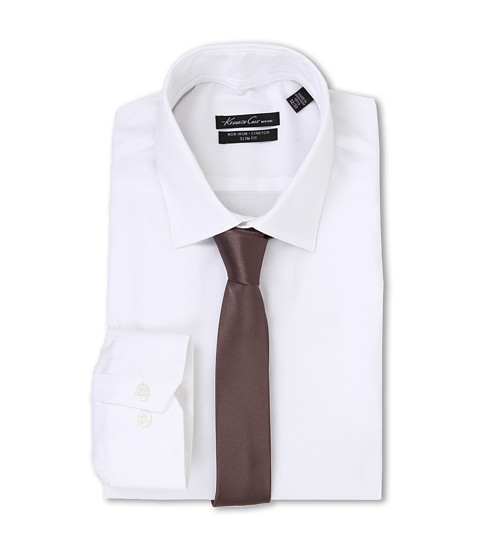 Kenneth Cole New York - L/S SlimFit Non-Iron Solid Dress Shirt (White) Men's Long Sleeve Button Up