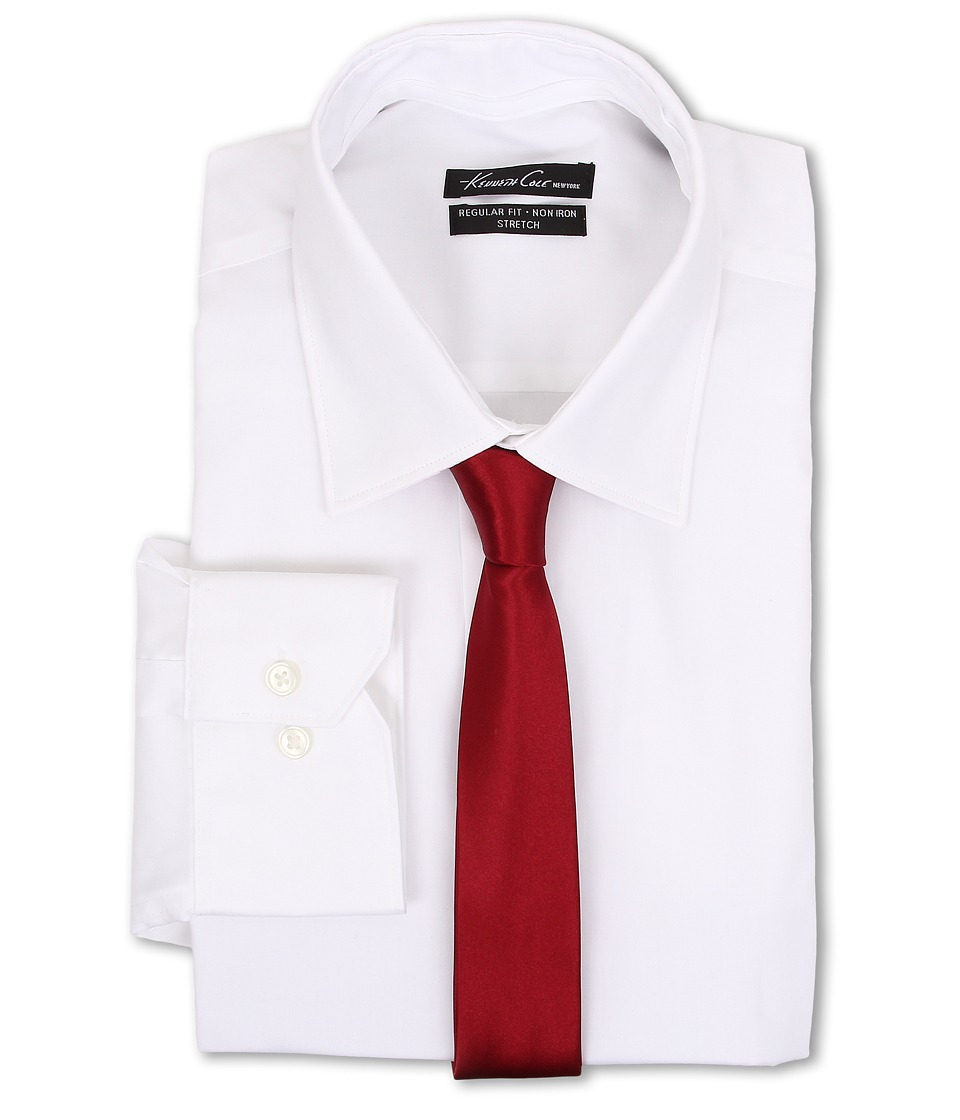 Kenneth Cole New York - L/S Regular Fit Non-Iron Solid Dress Shirt (White) Men