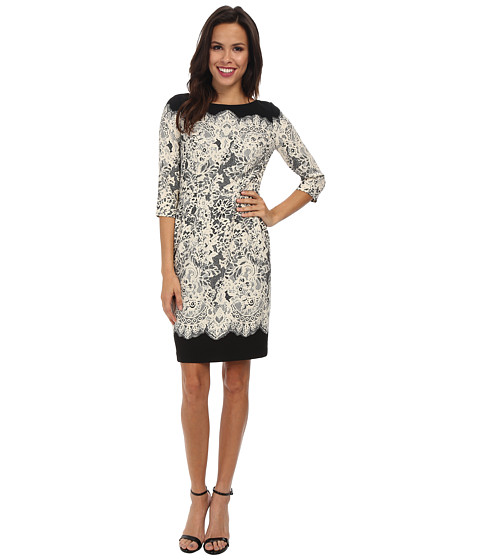 Adrianna Papell - Guipure Lace Printed Sheath (Black/Ecru) Women's Dress