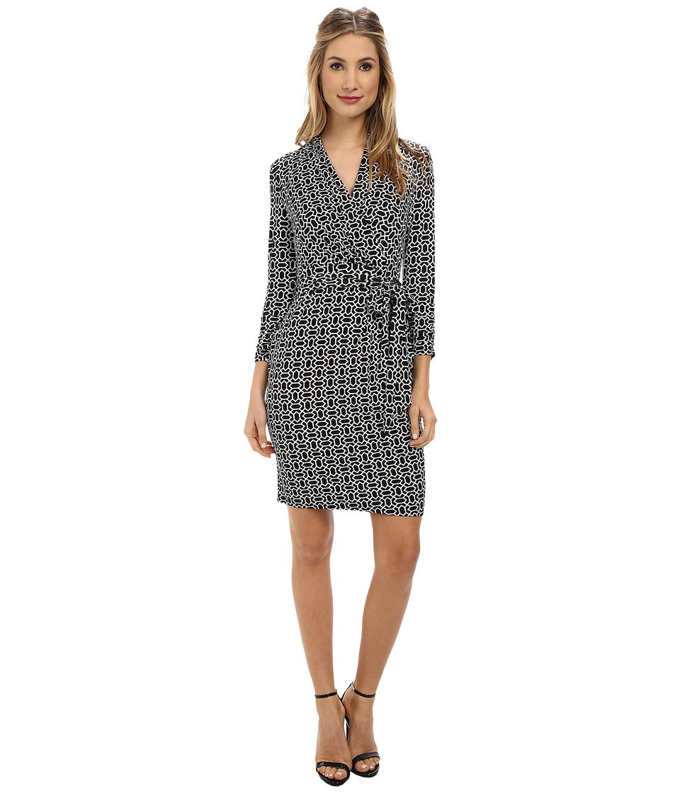 Adrianna Papell - Printed Wrap Dress (Black/Ivory) Women