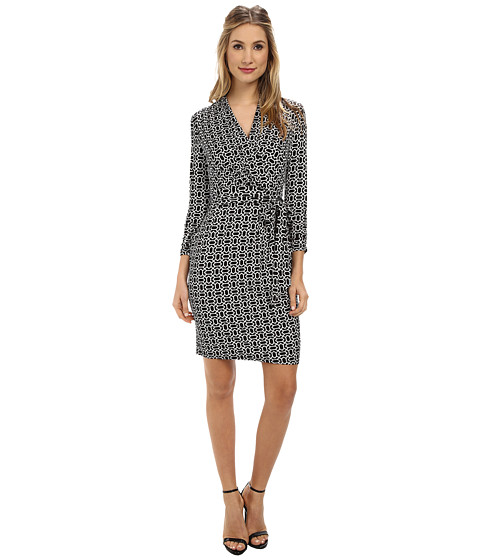 Adrianna Papell - Printed Wrap Dress (Black/Ivory) Women's Dress