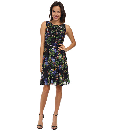 Adrianna Papell - Printed Strapping Fit and Flare (Navy Multi) Women's Dress