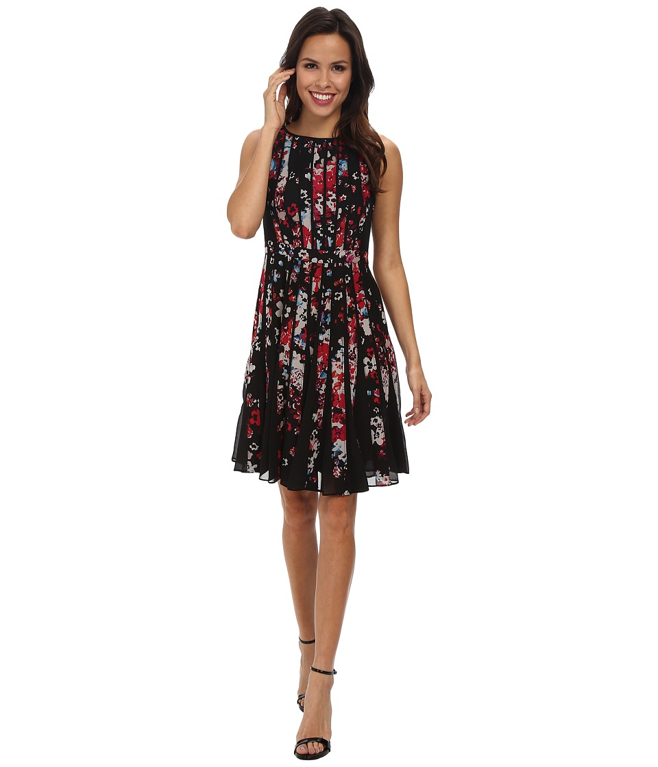 Adrianna Papell - Fractured Floral Printed Dress (Black Multi) Women