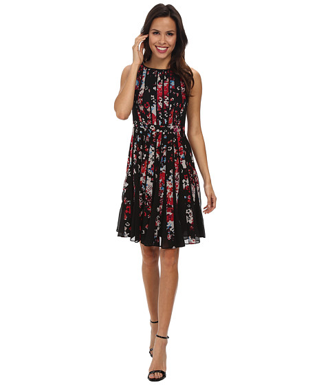 Adrianna Papell - Fractured Floral Printed Dress (Black Multi) Women's Dress