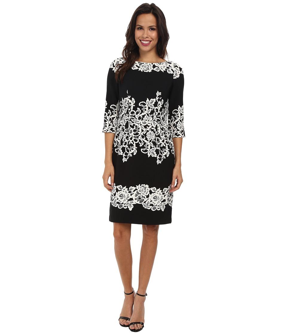 Adrianna Papell Fitted Placed Printed Lace Black Dress