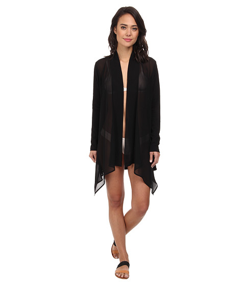Tommy Bahama - Knit Chiffon Cardigan Cover-Up (Black) Women's Swimwear