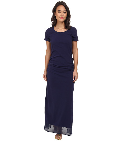 Tommy Bahama - Knit Chiffon Shirred Long T-Shirt Dress w/ Side Slits Cover-Up (Mare Navy) Women