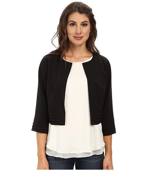 Adrianna Papell - Tuck Detail Swing Jacket (Black) Women's Coat