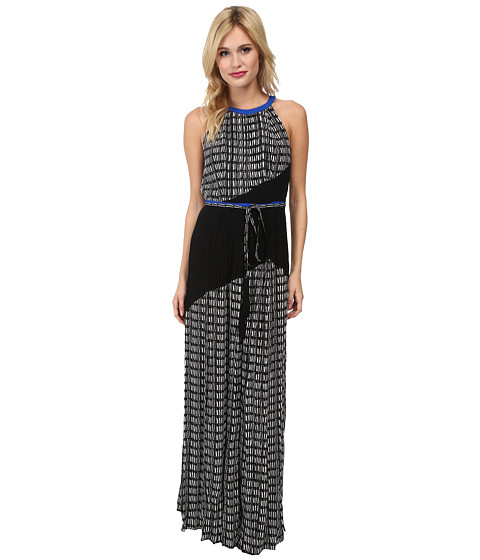 Adrianna Papell - Color Blocked Printed Maxi (Ivory/Black) Women's Dress