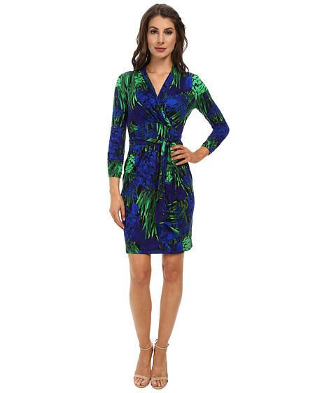 Adrianna Papell - Wrap Dress with 3/4 Sleeve (Black/Blue) Women's Dress