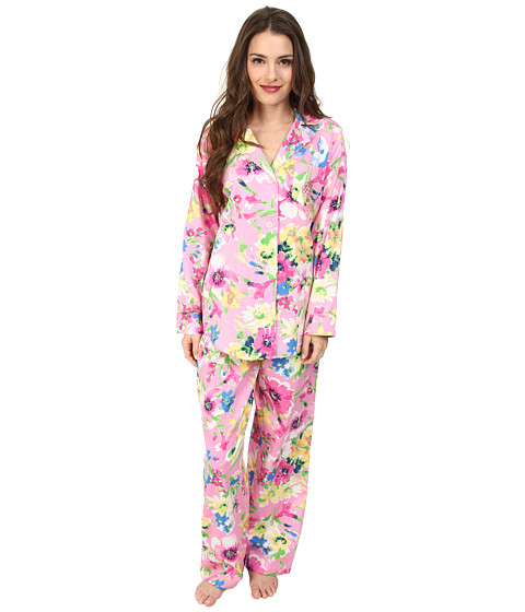 LAUREN by Ralph Lauren - Petite Jardin Du Luxenbourg Sateen L/S Classic Notch Collar PJ (Marie Abstract Floral Pink Multi) Women