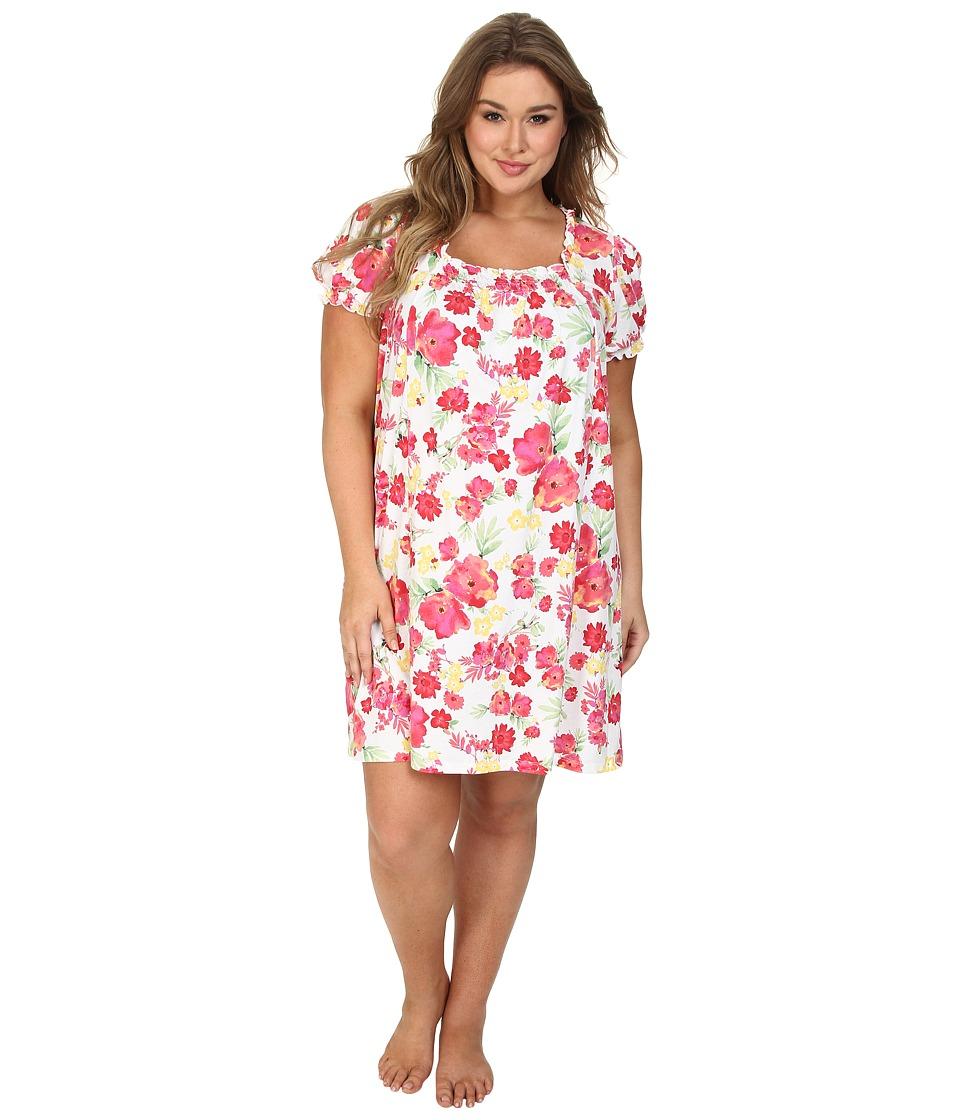 LAUREN by Ralph Lauren - Plus Size Jardin Du Luxenbourg Floral Short Gown (Jennifer Floral White/Pink/Coral Multi) Women's Pajama