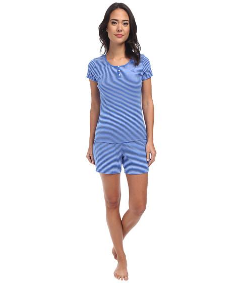 LAUREN by Ralph Lauren - Jardin Du Luxenbourg S/S Boxer PJ Set (Danielle Stripe Medici Blue/White) Women's Pajama Sets