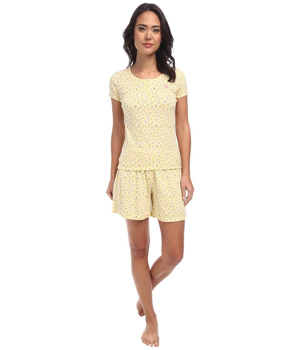 LAUREN by Ralph Lauren - Jardin Du Luxenbourg S/S Boxer PJ Set (Blossom Floral Yellow Multi) Women's Pajama Sets