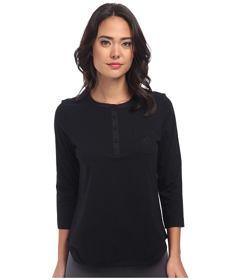 LAUREN by Ralph Lauren - Jardin Du Luxenbourg Pima Knit Three-Quarter Sleeve Tee (Black) Women's Pajama