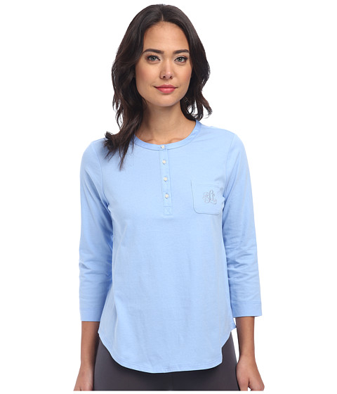 LAUREN by Ralph Lauren - Jardin Du Luxenbourg Pima Knit Three-Quarter Sleeve Tee (Riding Blue) Women's Pajama