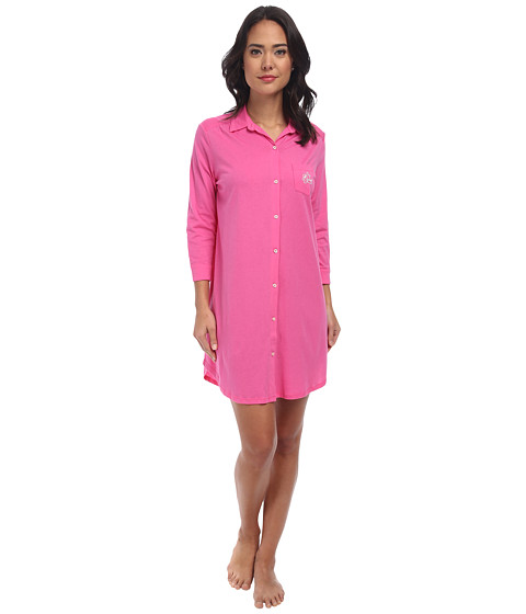 LAUREN by Ralph Lauren - Jardin Du Luxenbourg Essentials L/S Sleepshirt (Pink Hyacinth) Women's Pajama