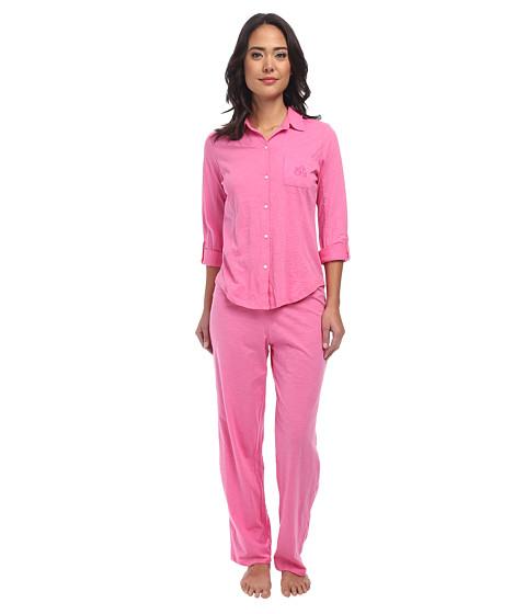 LAUREN by Ralph Lauren - Jardin Du Luxenbourg Roll Cuff Cotton Slubby Jersey PJ Set (Azalea Pink) Women's Pajama Sets