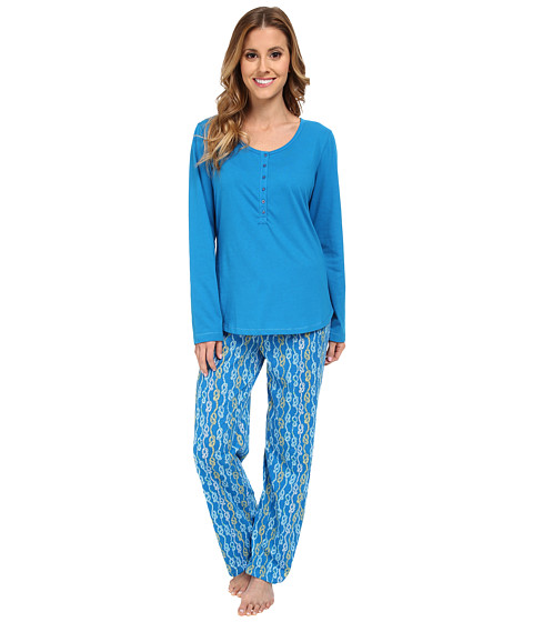 Jockey - Mystic Bay L/S Henley Top w/ Rope Stripe Pant Pajama Set (Rope Stripe) Women's Pajama Sets